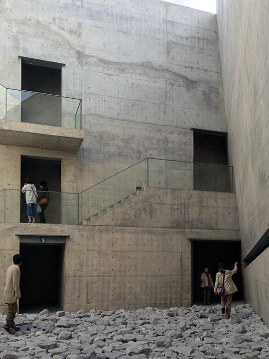 The courtyard at the Tadao Ando designed Chichu Art Museum on Naoshima