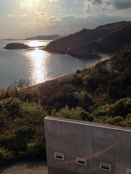 "View from the Benesse House, Naoshima with Hiroshi Sugimoto's ""Time Exposed , 1980-97"" seascapes on exhibit below"