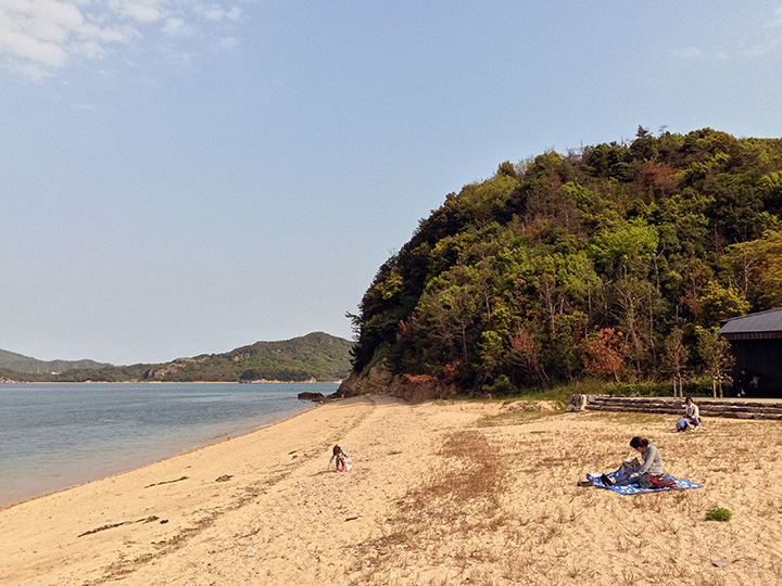 "View of the beach on Teshima including the house containing Christian Boltanski's ""Les Archives du Coeur"" #027 on the right"