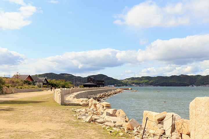 View from the Seirensho Museum towards the Bookstore/Cafe on Inujima