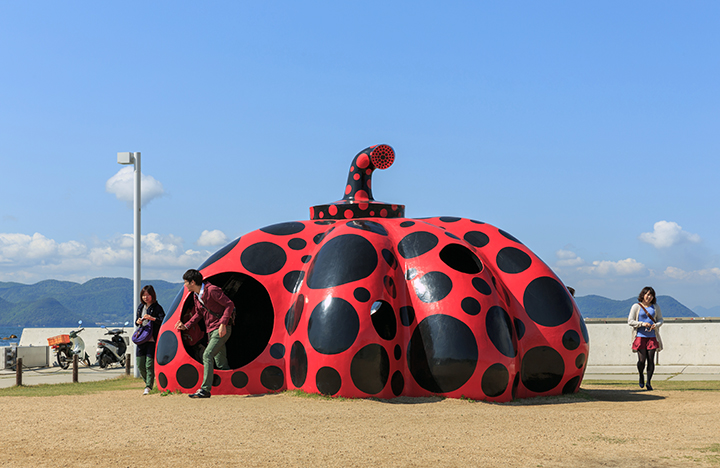 Yayoi Kusama's Red Pumpkin near the ferry on Naoshima