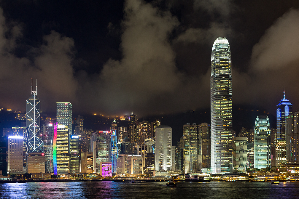 Nighttime view of Hong Kong from Kowloon
