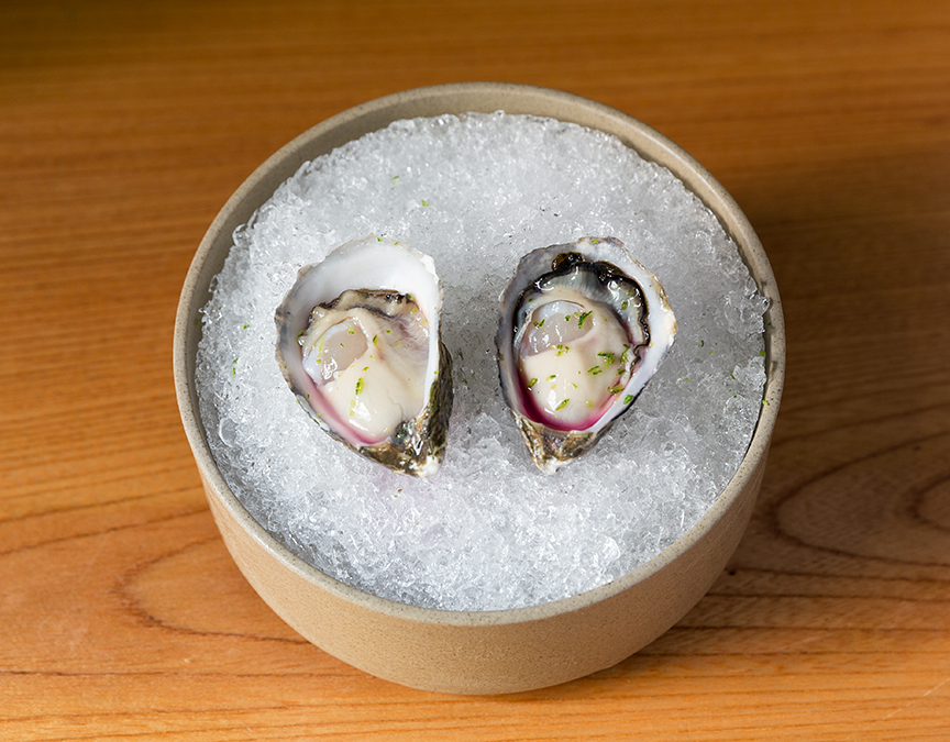 Shigoku Oyster w/Red Shiso Vinegar at Ronin