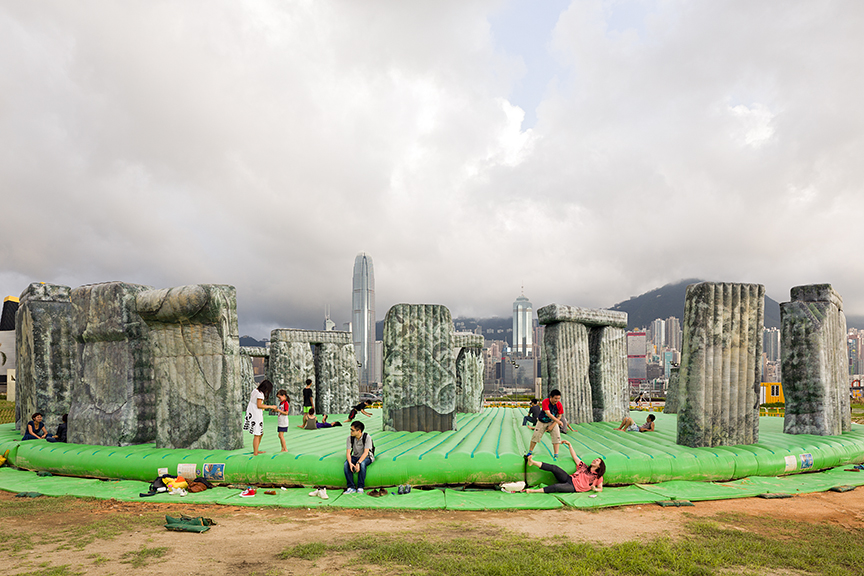 M+ exhibit Inflation in West Kowloon, Jeremy Deller's Stonehenge