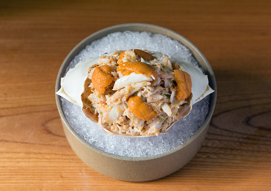 Flower crab with mitsuba and uni at Ronin, Hong Kong