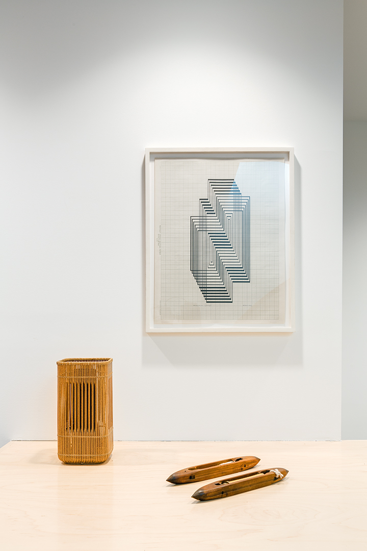 Drawing by Albers, vase by Chikuho, Anni's weaving shuttles